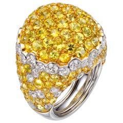 13.93 Carat Yellow Sapphire White Diamond 18 Karat White Gold Dome Cocktail Ring