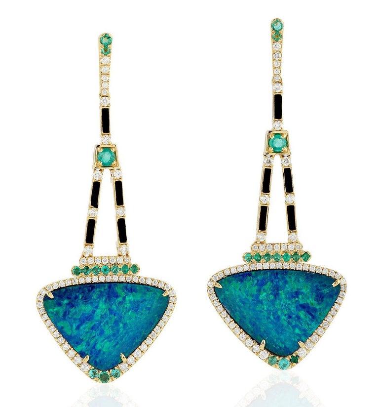 Mixed Cut 13.95 Carat Opal Emerald Diamond 18 Karat Gold Earrings For Sale