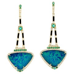 13.95 Carat Opal Emerald Diamond 18 Karat Gold Earrings