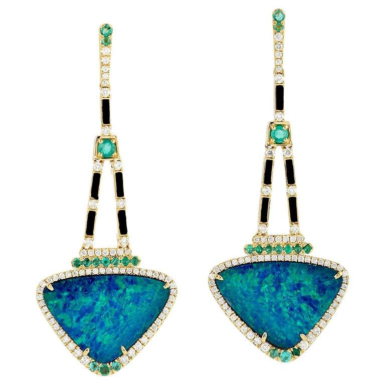 13.95 Carat Opal Emerald Diamond 18 Karat Gold Earrings For Sale