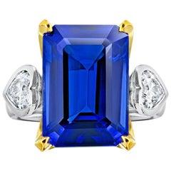 13.97 Carat Emerald Cut Blue Tanzanite and Diamond Platinum and 18k Ring