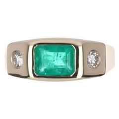 1.39tcw 14K Three Stone Colombian Emerald Cut & Round Diamond Gypsy Ring
