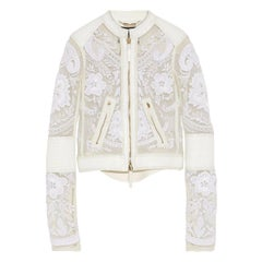 13K Roberto Cavalli Leather-trimmed Embroidered Tulle Biker Jacket in White, 42