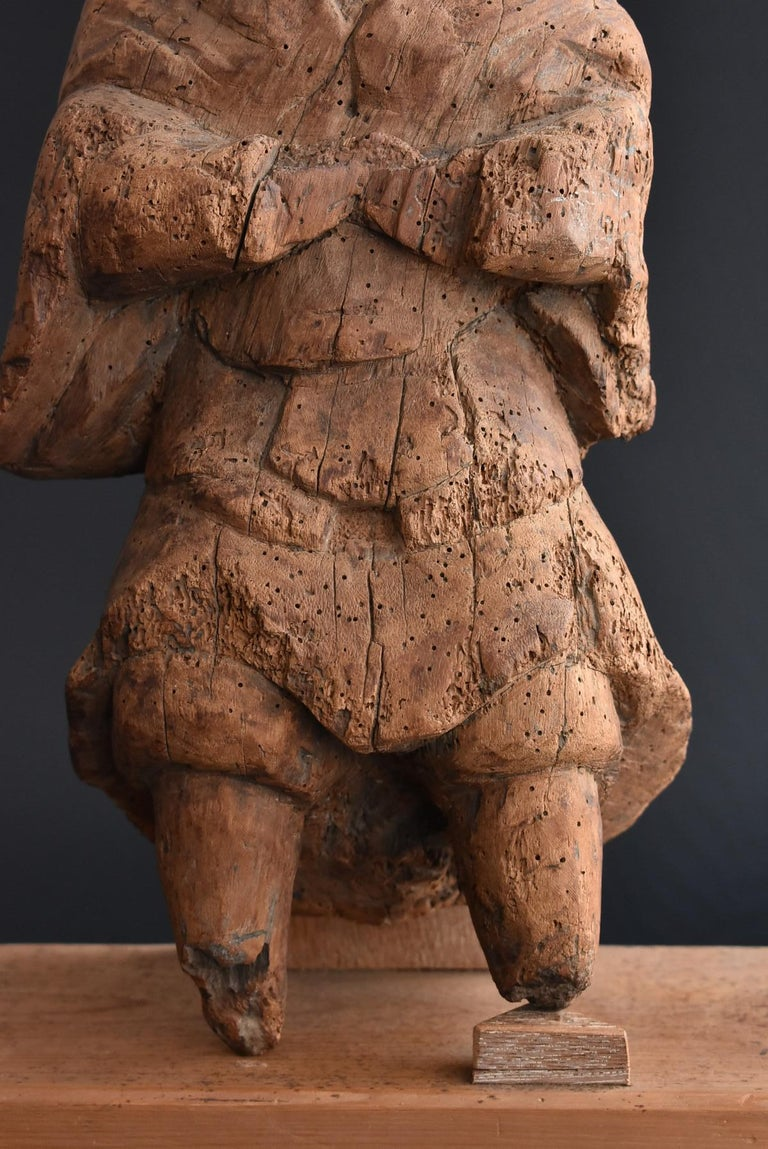 13th-16th Century Japanese Old Wood Carving Armed God / Buddha Statue For Sale 5