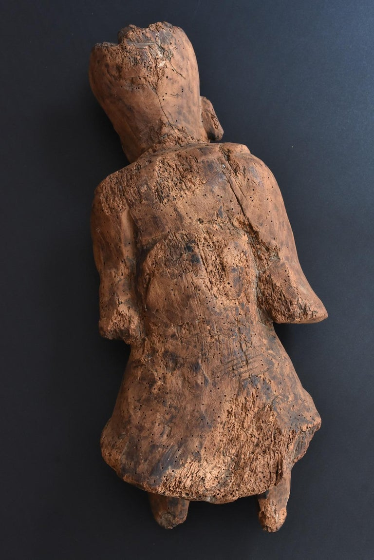 13th-16th Century Japanese Old Wood Carving Armed God / Buddha Statue For Sale 8