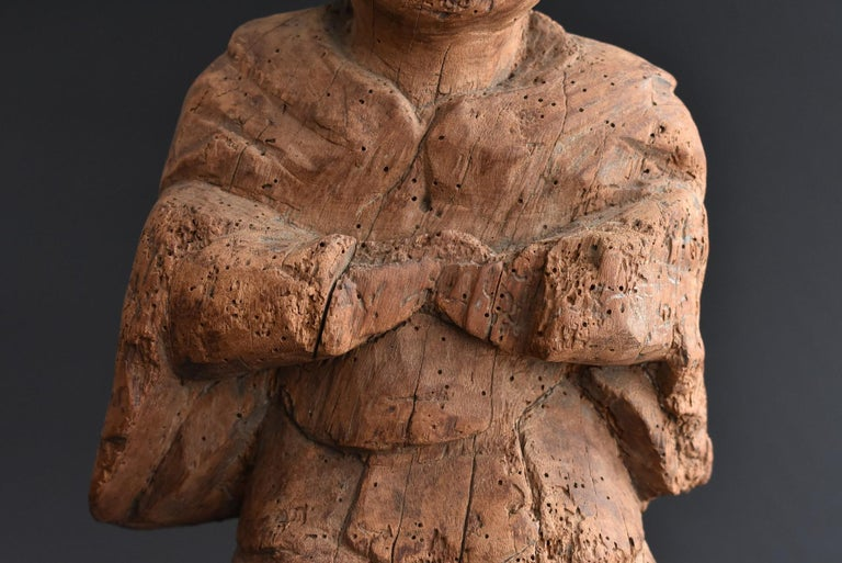 13th-16th Century Japanese Old Wood Carving Armed God / Buddha Statue For Sale 1
