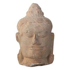 13th Century Buddha Head Sculpture in Sandstone