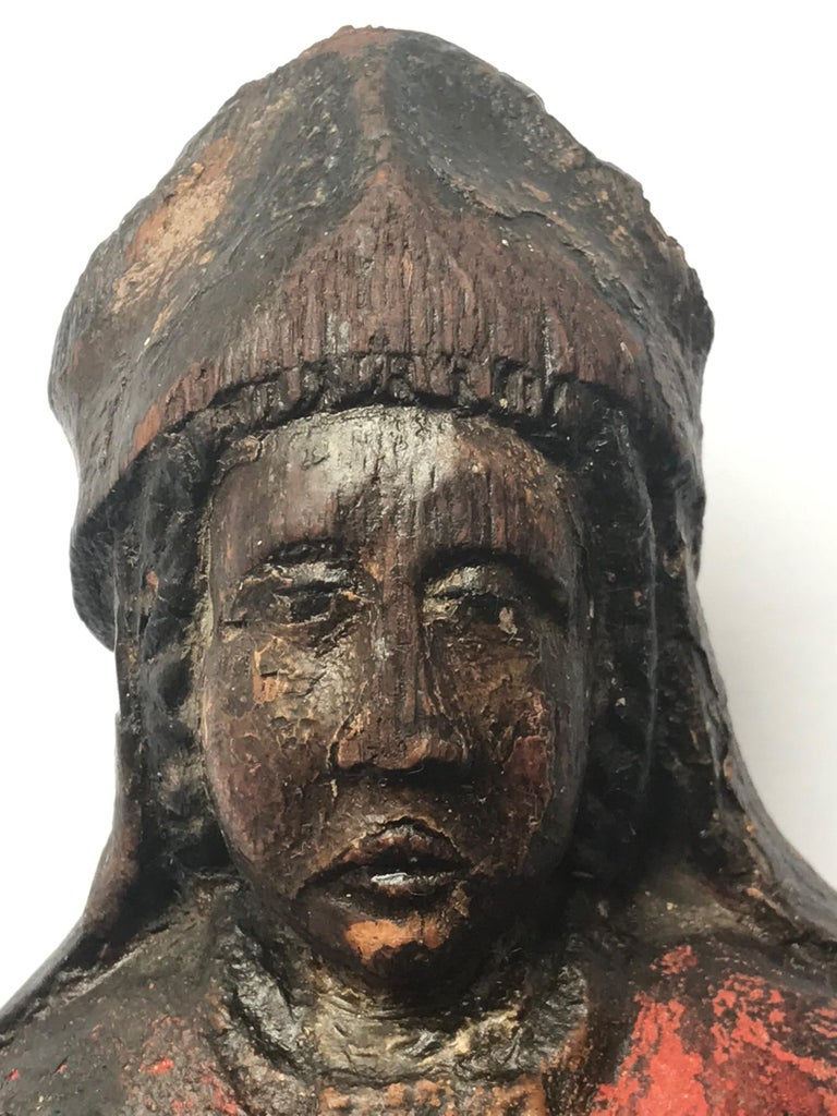 13th Century Romanesque Wood Carved Sculpture Group of a Bishop Saint with Child For Sale 11