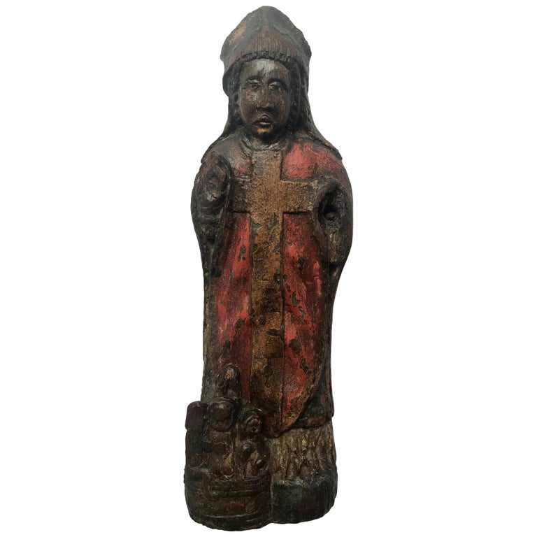 13th Century Romanesque Wood Carved Sculpture Group of a Bishop Saint with Child For Sale