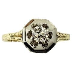 14/18 Karat White and Yellow Gold Diamond Ring