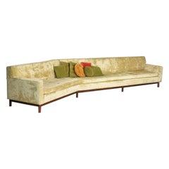 Angled Mid-Century Modern Green Velvet Sofa Style Dunbar by Edward Wormley