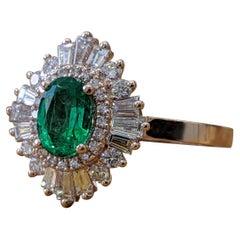 1.4 Carat 14 Karat Rose Gold Oval Cut Green Emerald Gatsby Style Engagement Ring