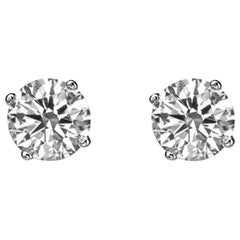 1.4 Carat 14 Karat White Gold Diamond Earring Studs, Classic Diamond Studs