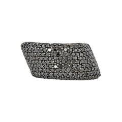 1.4 Carat Black Diamond Ring in 14 Karat White Gold