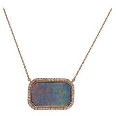 14 Carat Black Opal Diamond 18 Karat Yellow Gold Pendant Necklace