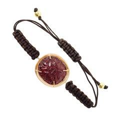14 Carat Carved Garnet Flexible Bracelet in Rose Gold