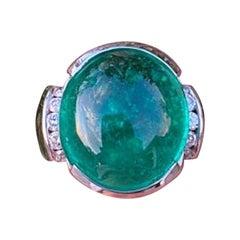 14 Carat Colombian Emerald & Diamond Ring 18 Karat White Gold