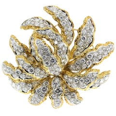 14 Carat Diamond Pendant Brooch in 18 Karat Yellow and White Gold Floral Design