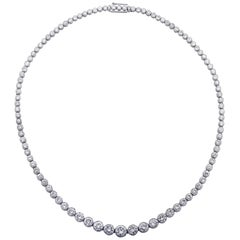 14 Carat Diamond Platinum Riviere Necklace