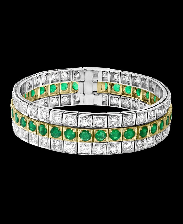 A spectacular jewelry piece from Estate. This exceptional bracelet has  three rows . Both side rows have around 70 round diamonds weighing approximately 14 carats and  35 round  Colombian  Emerald makes the  center row . Weight of the Colombian