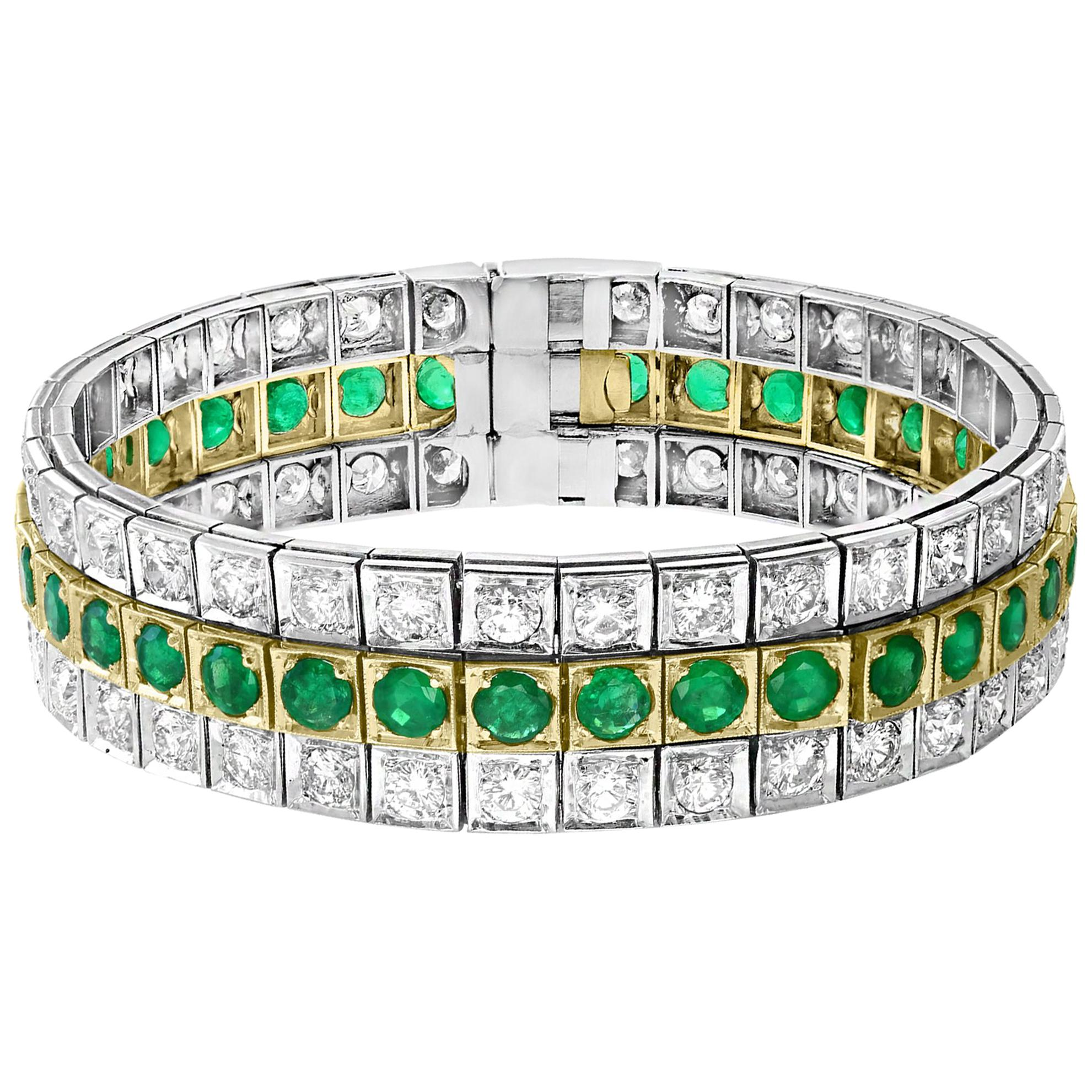 """14 Carat Diamonds & 8 Carat Colombian Emerald Platinum Tennis Bracelet 8"""" Estate"""