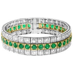 14 Carat Diamonds and 8 Carat Colombian Emerald Platinum Tennis Bracelet Estate