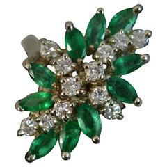 1.4 Carat Emerald 0.6 Carat Diamond 14 Carat White Gold Cluster Cocktail Ring