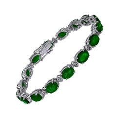 14 Carat Emerald 0.8 Carat Diamond Tennis Bracelet 18 Karat White Gold