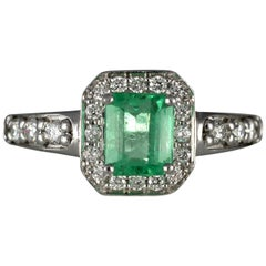 1.4 Carat Emerald and Diamonds, 18 Karat White Gold Wedding and Engagement Ring
