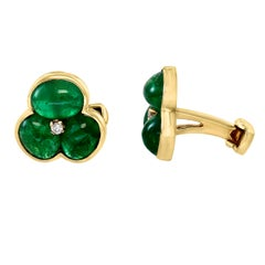 14 Carat Emerald Cabochon and Diamond Cufflinks in 14 Karat Yellow Gold Men