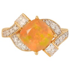 1.4 Carat Ethiopian Opal with Diamond Ring in 18 Karat Yellow Gold