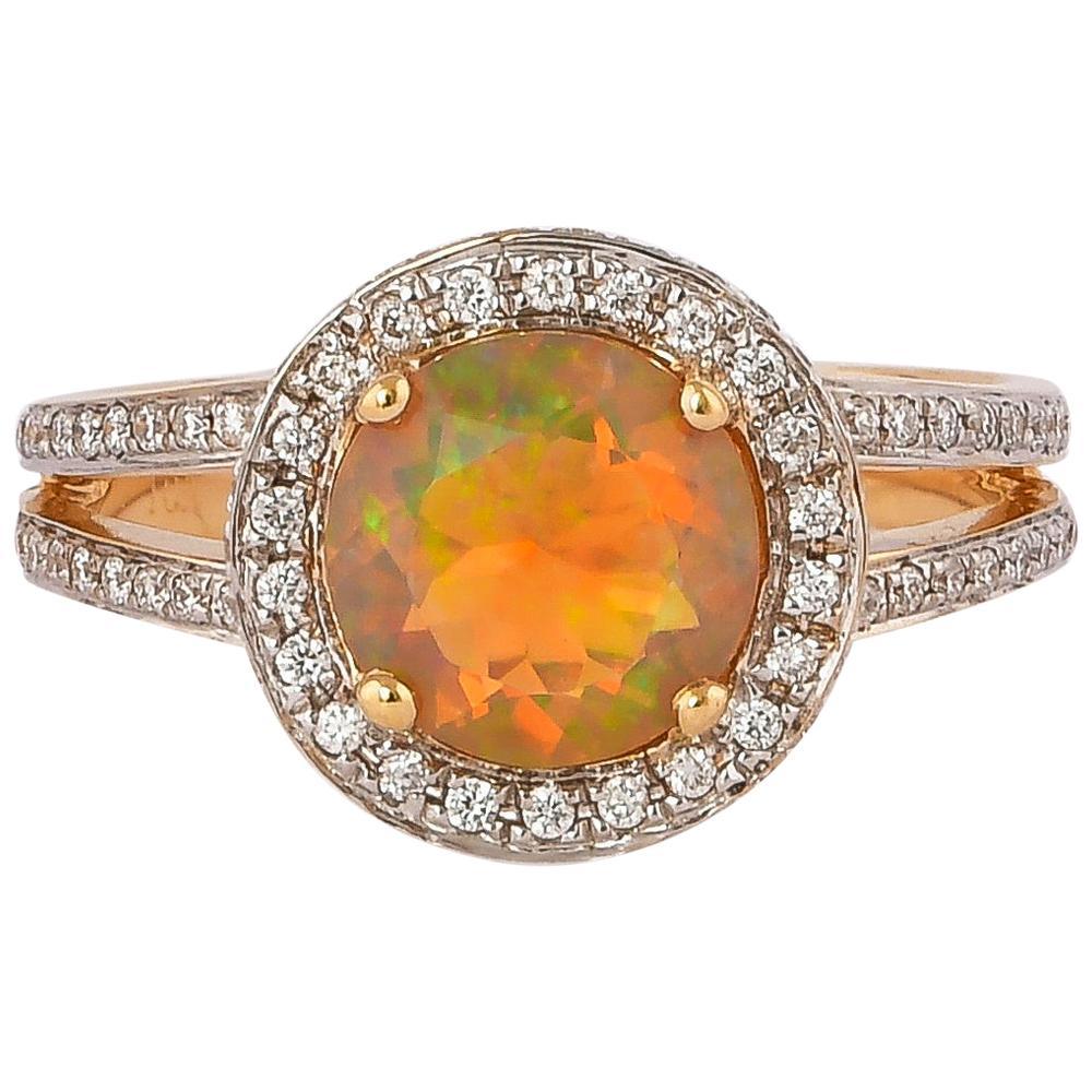 1.4 Carat Ethiopian Opal with Diamond Ring in 18 Karat Yellow Gold