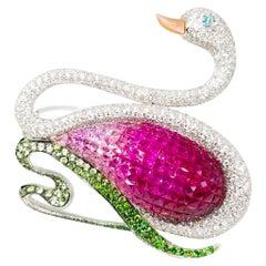14+ Carat Gem Encrusted Swan Brooch Diamond Ruby Sapphire Tsavorite Paraiba 18K
