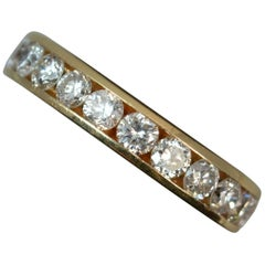14 Carat Gold and 1.00 Carat Diamond Stack Half Eternity Ring