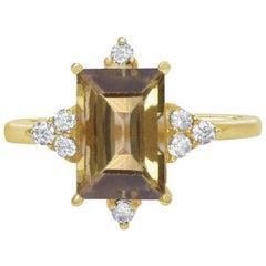 14 Carat Gold and Diamond Tourmaline Ring, Diamond Gemstone Engagement Ring