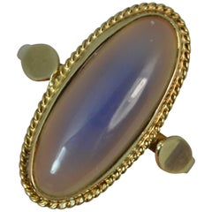14 Carat Gold Moonstone Agate Solitaire Ring