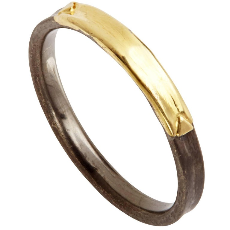 14 Karat Yellow Gold Oxidized Sterling Silver Wedding Band Ring For Sale