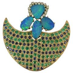 14 Carat Gold Sapphire Emerald Opal Diamond Brooch