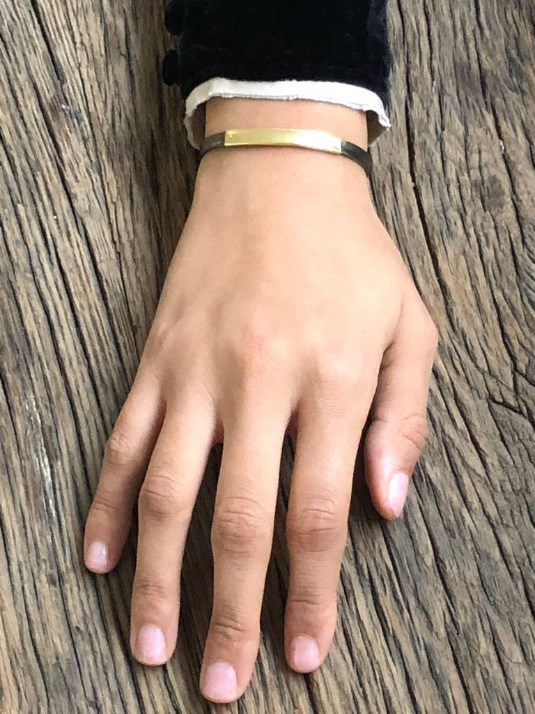 Contemporary 14K Gold, Oxidized Sterling Silver Bangle Bracelet For Sale