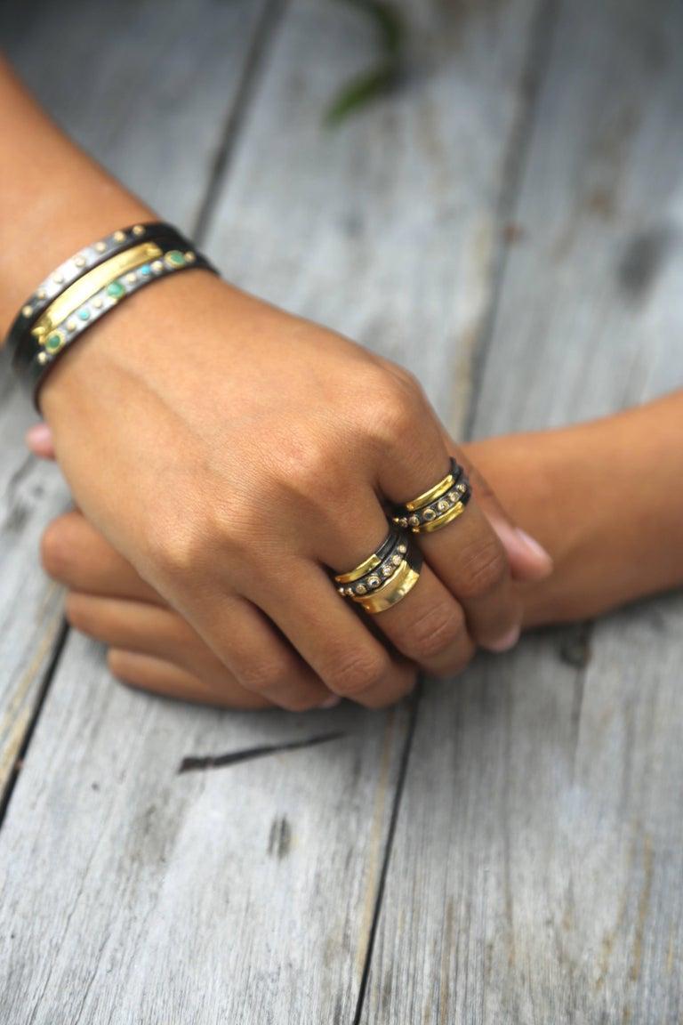 Women's 14K Gold, Oxidized Sterling Silver Bangle Bracelet For Sale