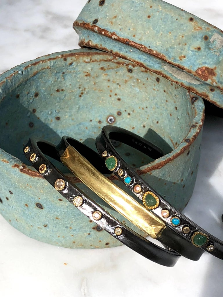 14K Gold, Oxidized Sterling Silver Bangle Bracelet For Sale 1
