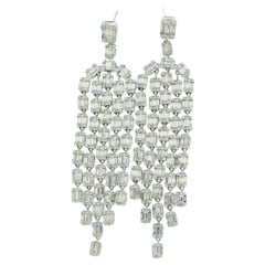 14 Carat Long Square, Round & Baguette Diamond Chandelier Earrings in White Gold
