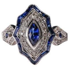 1.4 Carat Marquise Cut Blue Sapphire Diamond Engagement Ring 18 Karat White Gold