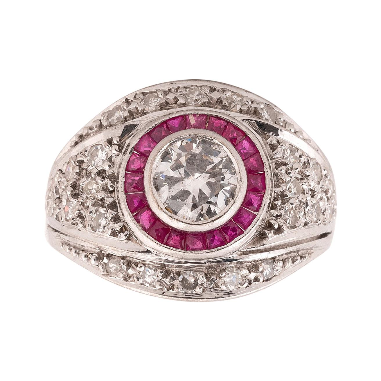 1.4 Carat Old Cut Diamond and Ruby Cluster Platinum Ring