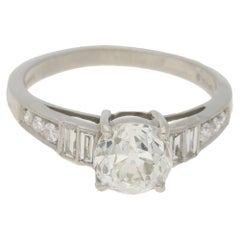 1.4 Carat Old Mine Cut Diamond Single Stone Engagement Ring