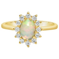 14 Carat Opal Engagement Ring with High Quality Diamonds