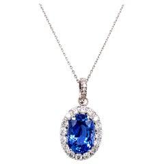 14 Carat Oval Ceylon No Heat Blue Sapphire Diamond Pendant Necklace AGL