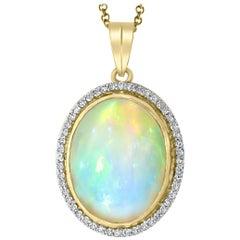 14 Carat Oval Ethiopian Opal and Diamond Pendant / Necklace 18 K Gold Necklace
