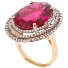 14 Carat Oval Tourmaline Rubelite Diamonds 18 Karat Gold Cocktail Ring