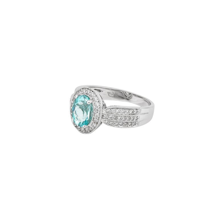 1.4 Carat Paraiba and White Diamond Ring in 18 Karat White Gold In New Condition For Sale In Hong Kong, Kowloon